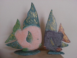 HAND-CARVED-PAINTED-WOOD-TROPICAL-FISH-DECOR-SCULPTURES-ART-BALI-NEW SET... - $21.51