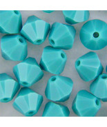 4mm Turquoise Swarovski Xilion Crystal Beads 5328, 72 opaque blue bicone - $6.50