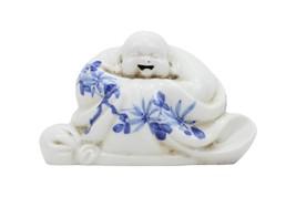 "Blue and White Porcelain Cute Chinese Sitting Buddha Buddah Figurine 4.5"" - $54.44"