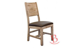 John Chair with Leather Seat Pad Rustic Real Solid Wood Cabin Lodge Western - $272.25