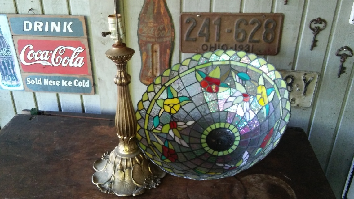 Vintage Tiffany Style Stained Glass Lamp Red Yellow Floral & Luster