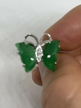 Vintage Green Jade Ring Silver Finish White Sapphire Size 7.25 - $84.15