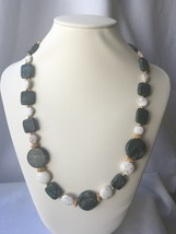 Jasper Green Marble and White Magnesite Beaded Necklace With Gold Accents - $45.00