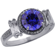 3.46CT Women's Unique Round Cut Blue Sapphire Ring 14K White Gold Covere... - £113.42 GBP