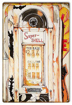 Super Shell Gas Station Pump Reproduction Metal Sign 12×18 - $21.78