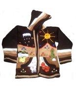 Alpakaandmore Boys Brown Toddler Hooded Cardigan, Peru Hand- Embroidered... - $44.55