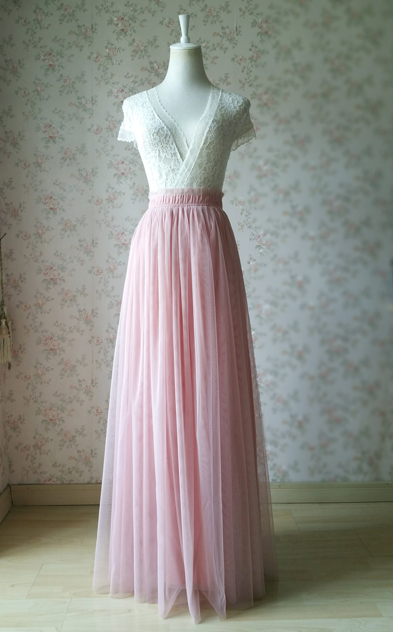 Dusty pink tulle skirt wedding bridesmaid skirt 242 1