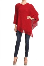 Women's Red Sequin Poncho Shimmer Fringed Holiday Cape: OS - $32.00