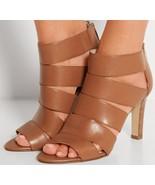 new michael kors gisele open toe heels / sandals size 9 M medium brown l... - $95.00