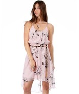 Pink Chiffon High Front Low  Back Dress With Braided Black Gold Belt - $34.60