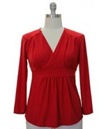 Red V Neck Long Sleeve Knit Plus Size Blouse Top $27.95 Tie Back - $27.67