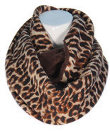 Brown Reversible Infinity Scarf Leopard Print on one size  brown  on the... - £17.16 GBP