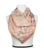 Peach & Multi Color Spring Flora Print Infinity Fashion Ladies Scarf pol... - $19.75