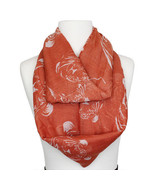 Coral Orange and White Tiger Print Women Spring Fashion Infinity Scarf - $19.75