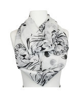 Black And White Tiger Print Infinity Fashion Ladies Scarf 100% polyester - $19.75