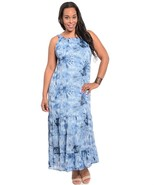 Blue Multi Color Plus Size Fully Lined Maxie Dress Size 4X - $89.05