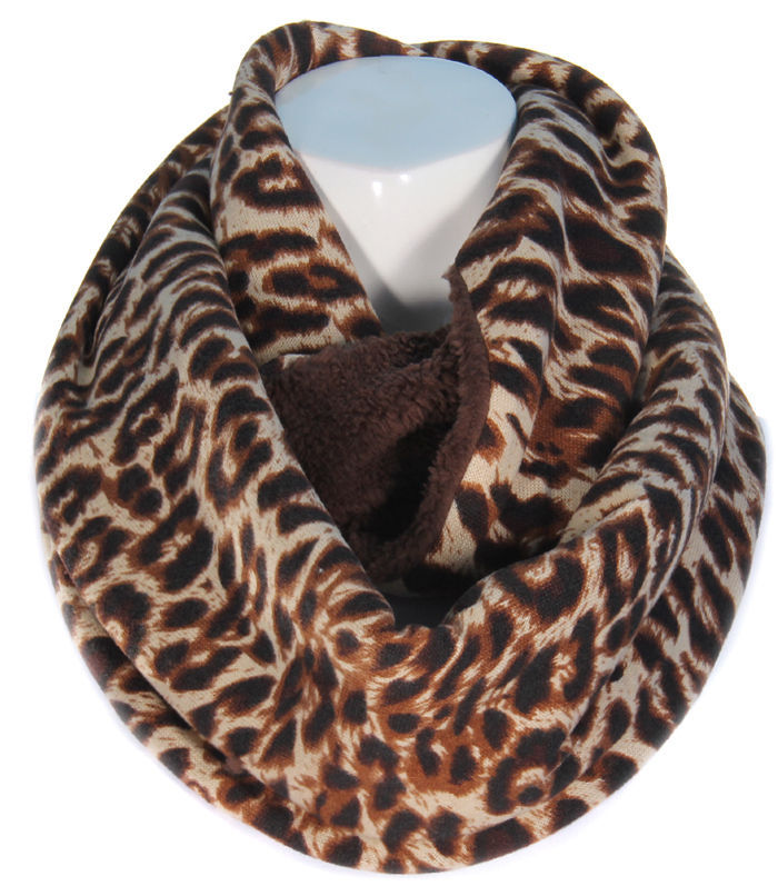 Brown Reversible Infinity Scarf Leopard Print on one size  brown  on the other