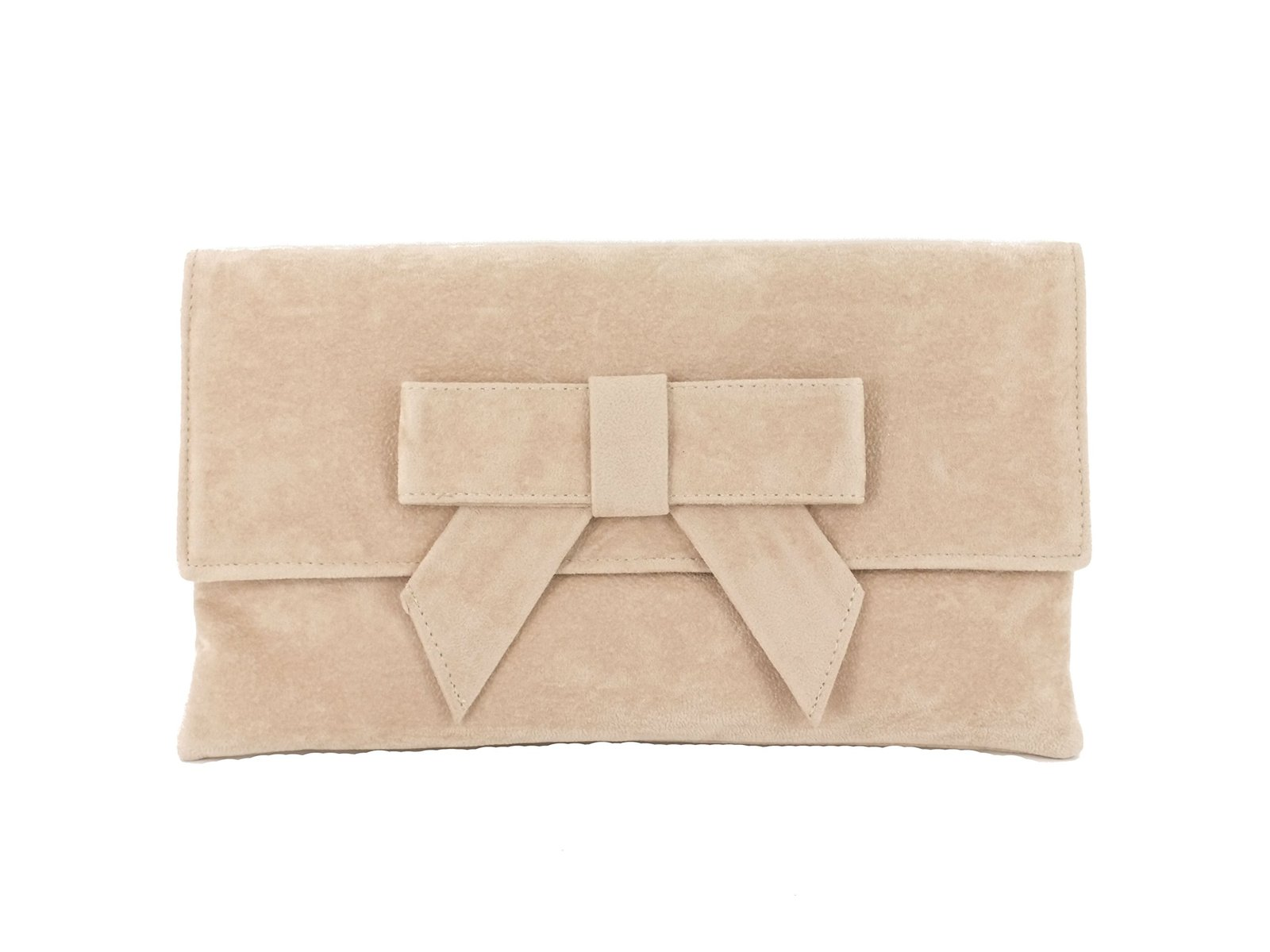 LONI Womens Cute Suede Faux Leather Clutch bag/Shoulder Bag in Nude Beige