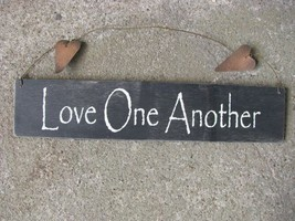68616B-Love One Another  Wood Hanging Sign metal star - $3.95