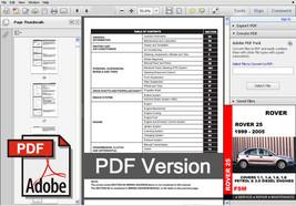 Rover 25 1999 2000 2001 2002 2003 2004 2005 Service Repair Workshop Fsm Manual - $14.95