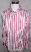 Dana Buchman Shirt Top Size 10 Pink Stripe Cotton - $17.41