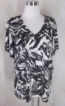New JM Collection Matte Jersey Top Blouse XL Black White Beading - $17.41