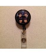 Beatles Badge Reel Id Holder Four Faces - New Handmade Black - $6.95