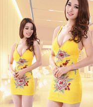 PF072 Sexy flower embriodered step dress,  size s-xl, yellow - $39.90