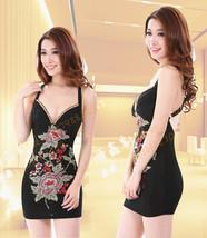 PF072 Sexy flower embriodered step dress,  size s-xl, black - $39.90