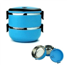 STAINLESS STEEL INSULATED 2 TIER BENTO LUNCH BOX Vacuum Seal Blue Plasti... - $19.88