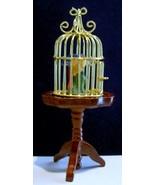 Dollhouse BRASS BIRD CAGE ON TABLE Reutter Miniature Porcelain Parrot 1.6815 New - $21.85