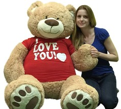 I Love You Giant 5 Foot Teddy Bear Soft 60 Inch Wears I Love You T-shirt... - $97.11