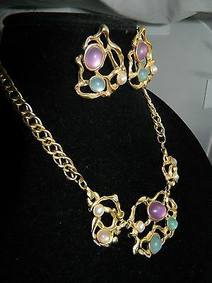 VTG Gold Tone Modern Abstract Multi Color Plastic Cabochon Necklace/ Earring Set