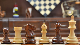 "Staunton Chess Pieces With Board Combo in Sheesham & Box Wood - 3.1"" King- D0120 - $292.98"