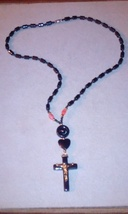 Beautiful natural hematite necklace with crucifix pendant - $15.00