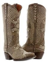 Womens Brown Beige Leather Western Cowboy Wedding Boots Studs Rodeo Rhin... - $239.99