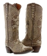 Womens Brown Beige Leather Western Cowboy Wedding Boots Studs Rodeo Rhin... - €203,20 EUR