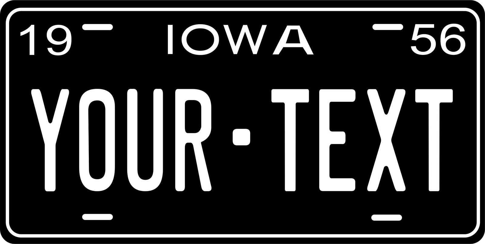 Iowa 1956 Personalized Tag Vehicle Car Auto License Plate