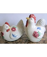 Barnyard Poppies Rooster & Hen LENOX Chinastone Salt & Pepper Shaker Set - $19.79