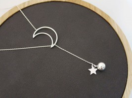 925 sterling silver Open Crescent moon and Twinkle Star and silver ball ... - $40.00
