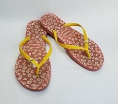 Havaianas Shoes Daisy Floral Flip Flops Sandals Brazil Womens Size 7-8 /... - $29.65