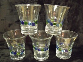 SET OF 5 QUALITY THICK FUSED GLASS 10 OZ.  FLARE TOP TUMBLERS, NWOT - $29.70