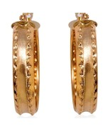 Gold Earrings 1 inch  hoops  10 K Yellow Gold CHRISTMAS IN JULY - $90.69