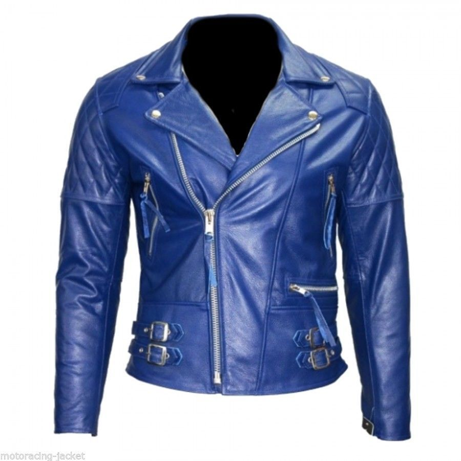 Men's Blue Brando Leather jacket Leather Jacket, Men jacket : All size available