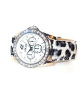 Austrian Crystal  Watch Black and White Leopard Print Band  CHRISTMAS IN... - $21.28