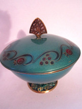 BOXES - Green Enamel Brass Covered Dish DAYAGI from Israel - $99.00