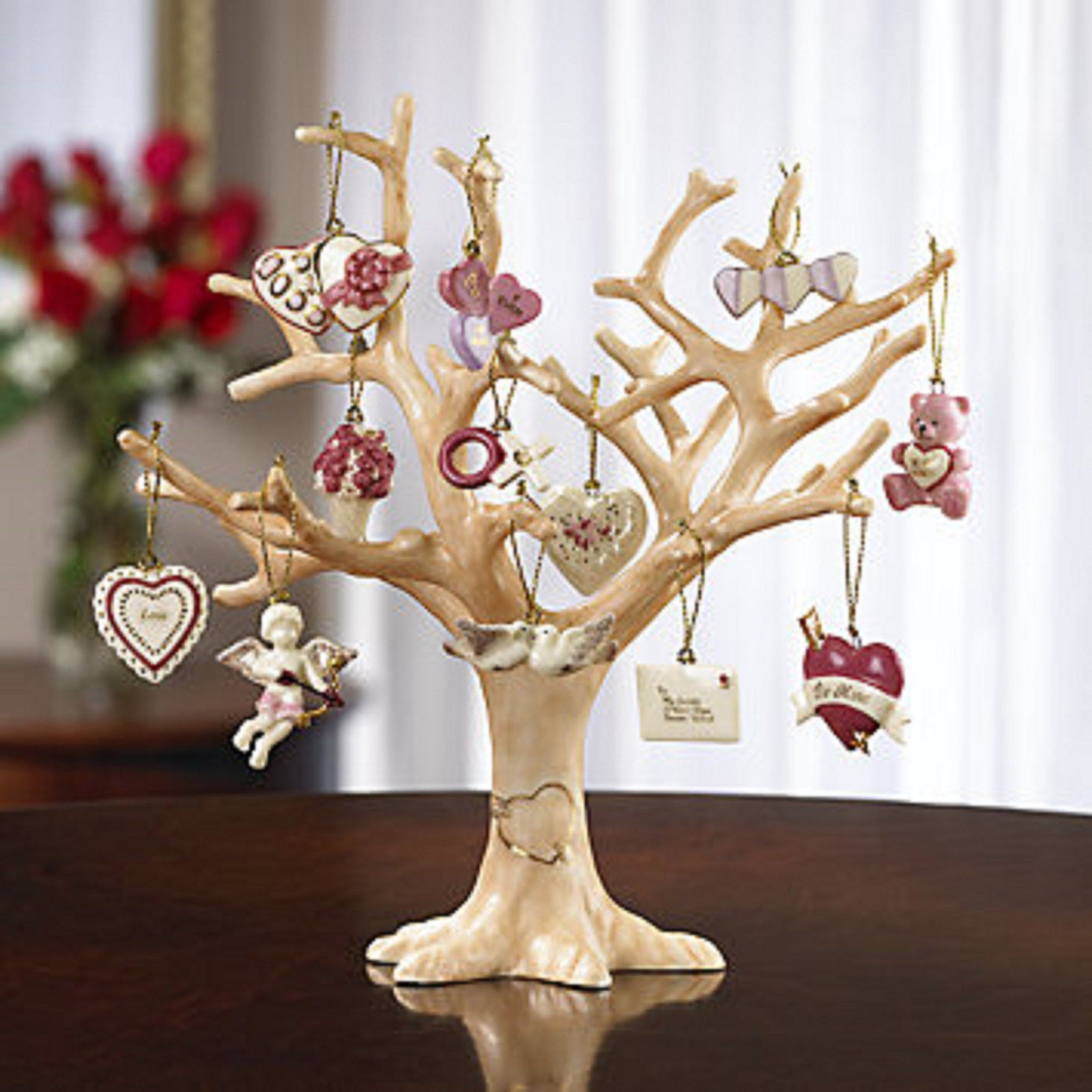 Lenox Valentine Be Mine Miniature Tree Ornaments Set of 12 Heart Dove Cupid NEW