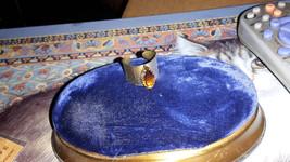 Vintage Sarah Coventry EMBER NAVETTE Topaz Rhinestone Goldtone Cuff Ring View Fu - $12.99