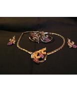 Elegant Vintage Cassini Pink Rhinestones Pearls Gold Plated Necklace & Earr - $123.74