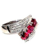 Rubellite Tourmaline Diamond Ring 14K White Gold size 7 CHRISTMAS IN JULY - $737.54
